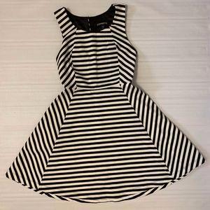 Express Black/White Striped Dress for petite